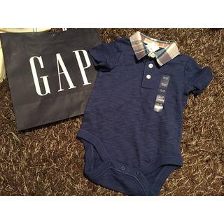 539 babygap  gap チェック柄襟付きロンパース
