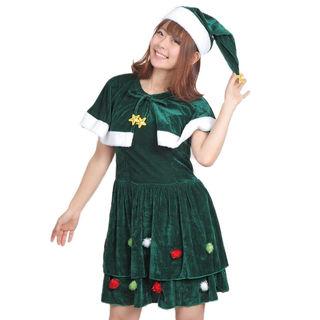 2点セット サンタ コスプレ クリスマスツリー M