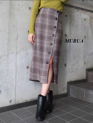 新品 MURUA チェックペンシルスカート