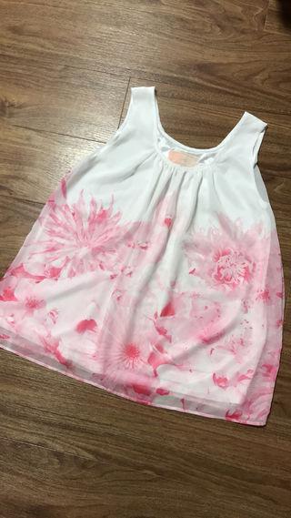 美品 リゾートフラワー ピンク シフォン タンクトップ