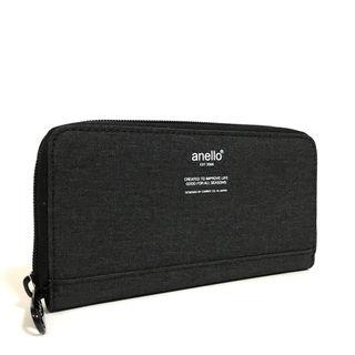 anello】高密度杢調素材ロングウォレット[ブラック]