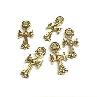 素材ゴールドクロスパーツ 十字架パーツ 5点セット