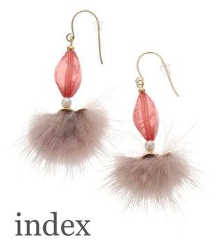indexミックスビジューファーピアスPink