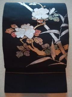 黒金銀刺繍*ナゴヤ帯正絹*額縁チョー美品レタR