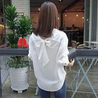 2WAY★バックリボンVネックシャツ★ Mサイズ
