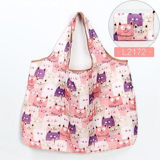 猫柄(ピンク)】エコバッグ 買い物袋 折り畳み キュート防水