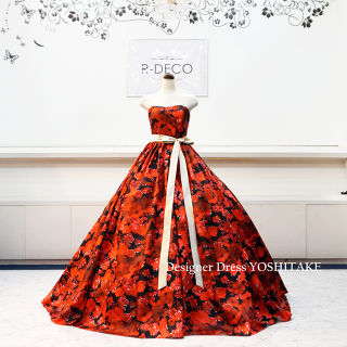 ウエディングドレス(パニエ無料) 赤黒花柄