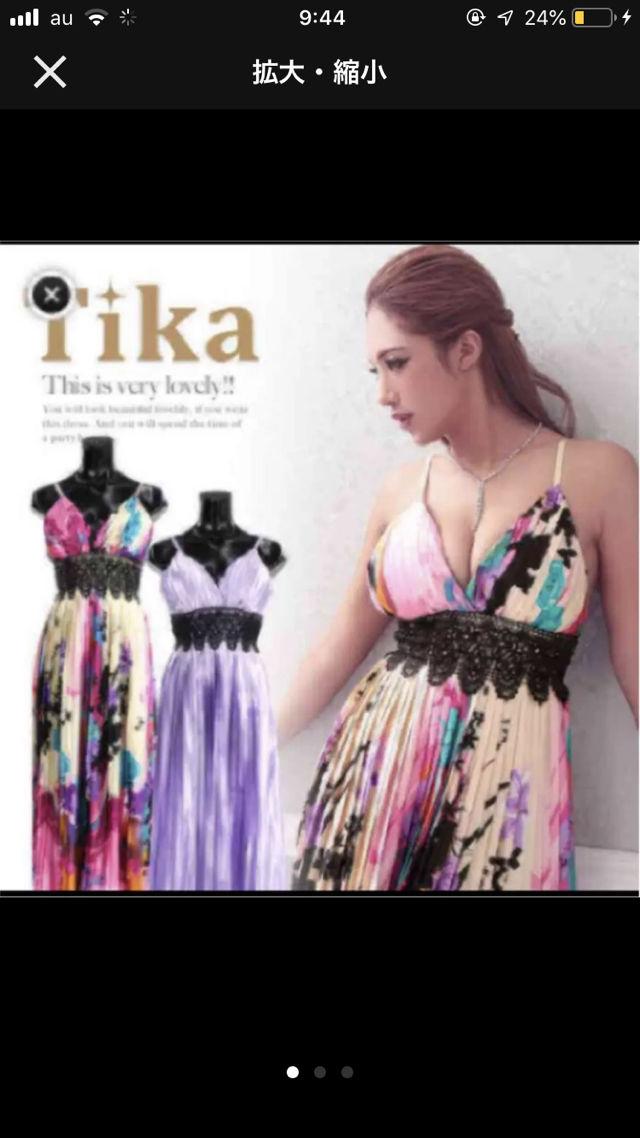 【新品】Tika柄プリーツウエストレースロングドレス