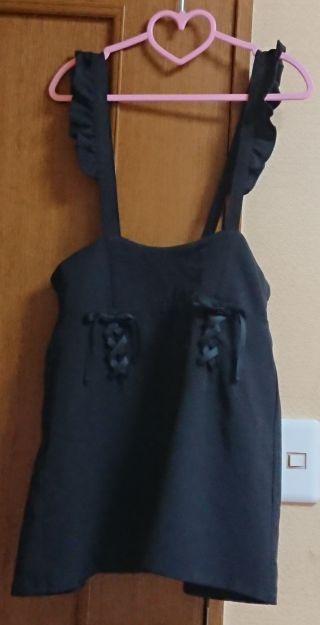 リボン肩紐フリル サスペスカート