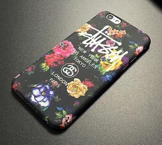 STUSSY iPhone7/8ハードケース 花柄 夜光