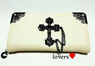 ホワイト シルバービッグメタル クロス十字架チェーン 長財布