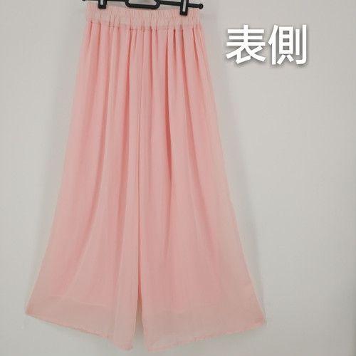 ピンク 上品 大人カジュアル 体型カバー  ガウチョパンツ