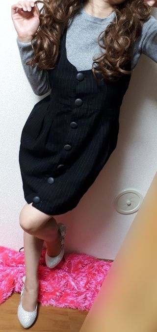 OLIVEdesOLIVEストライプ柄*サス付きスカート