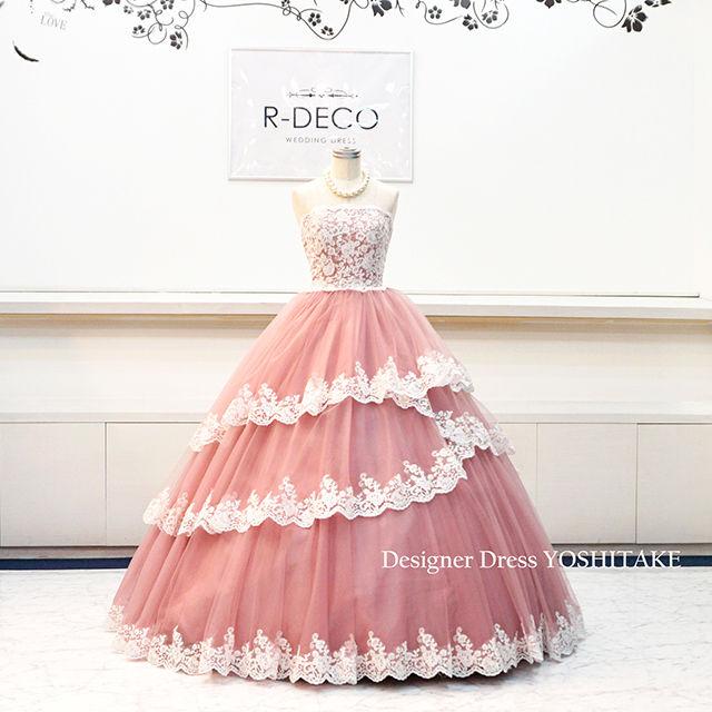 ウエディングドレス(パニエ無料) 渋ピンクレースドレス