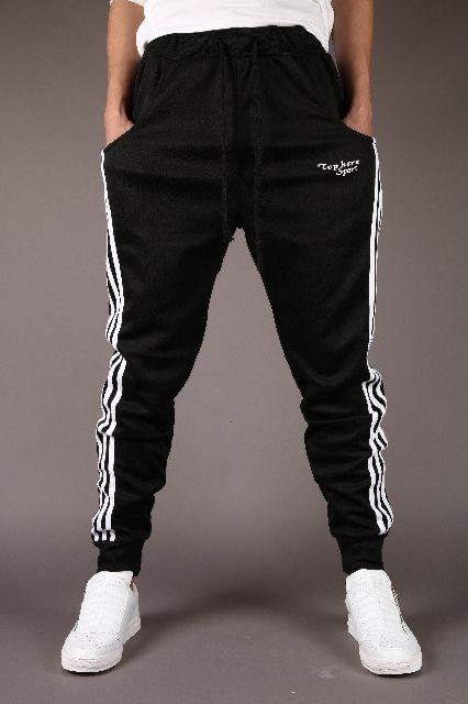メンズ スウェット ジョガーパンツ 3本ライン ブラック
