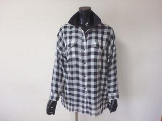 016MURUAチェックシースルーシャツ