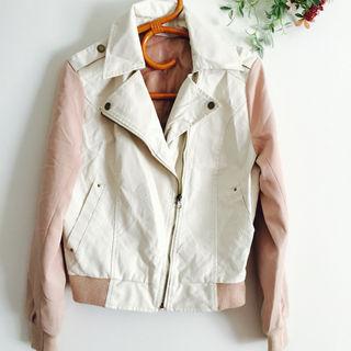 ピンク 春物 ライダースジャケット