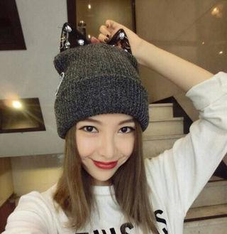新品猫耳付きキラキラニット帽子キャップ韓国セレブ