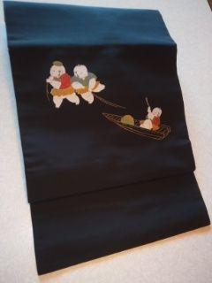 黒/キモカワ童子柄付帯正絹二部式美品薄点