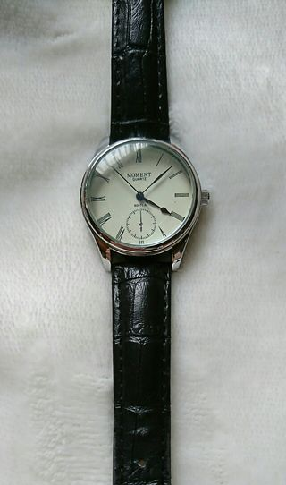 DHOLIC 腕時計 黒 ブラック レザー ビックフェイス