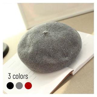 ベレー帽 帽子  ブラック・グレー・ワインレッド