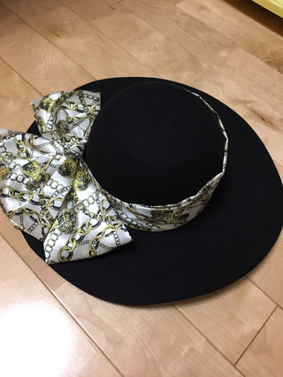 女優帽 リボン付き