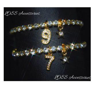 【高級】金色ナンバーアンクレット ネックレス リング b76