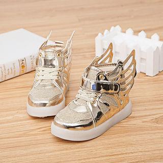 光る子ども靴【ゴールド13cm】