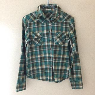 VENCE 衿ワイヤー入りチェックシャツ(ブルーグリーン系)