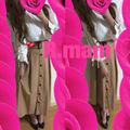 コーデセットポンチ袖割れトップス+トレンチスカート