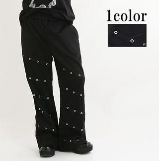 【Drughoney】ユニセックス斜めハトメ装飾黒パンツ