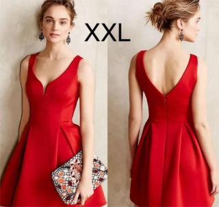 新品胸元綺麗シンプルふんわりワンピース レッド XXL