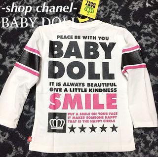 新品BABY DOLLスマイル ロンT/白90