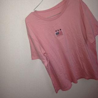USA ピンク アメリカ 国旗 Tシャツ
