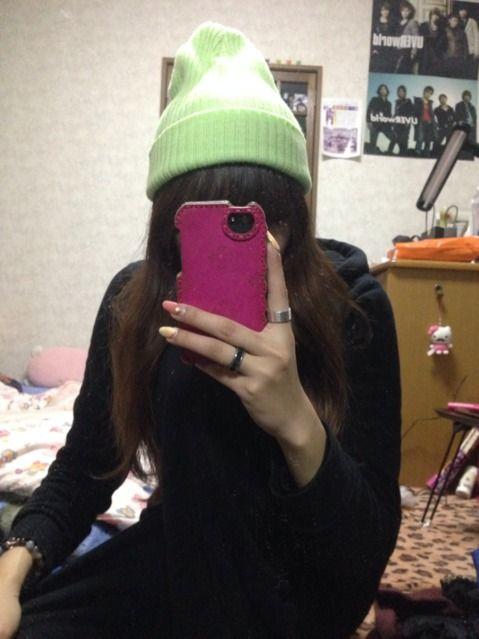 パステルグリーン ニット帽