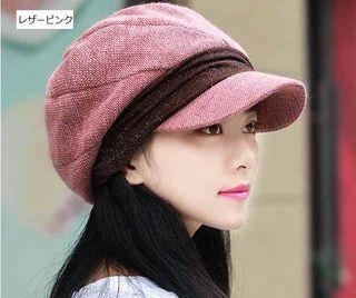 レザーピンク 小顔効果 防寒 キャスケット 帽子 フェミニン