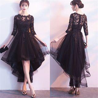 刺繍前短後長ウエディングドレス袖ありパーティードレス