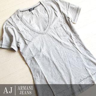 新品 S位 アルマーニジーンズ 半袖リボン柄Tシャツ グレー