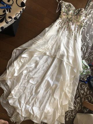 AngelRスパンコールビジュー中ミニロングドレス