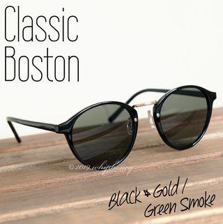 アウトレット レトロクラシックボストンUVサングラス 黒 緑
