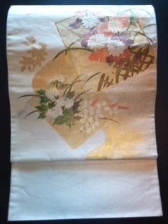 オフ白金箔華*刺繍正絹袋帯美品\700