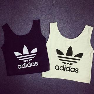 Adidasイキへそ出しTシャツ 半袖 2色選択