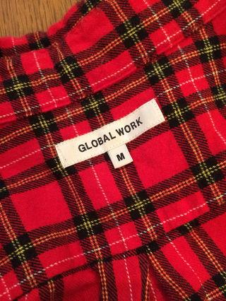 8.GLOBAL WORKチェックオープンシャツ