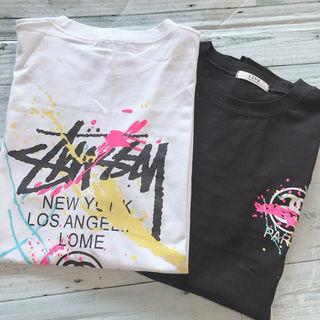 新品 韓国 シンプル ペンキ Tシャツ