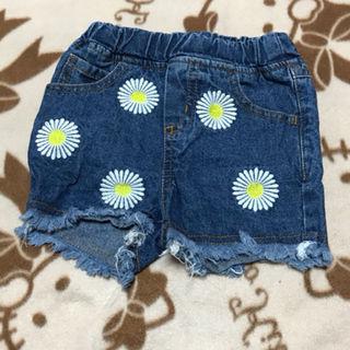 お花刺繍フリンジ風デニムショーパン90