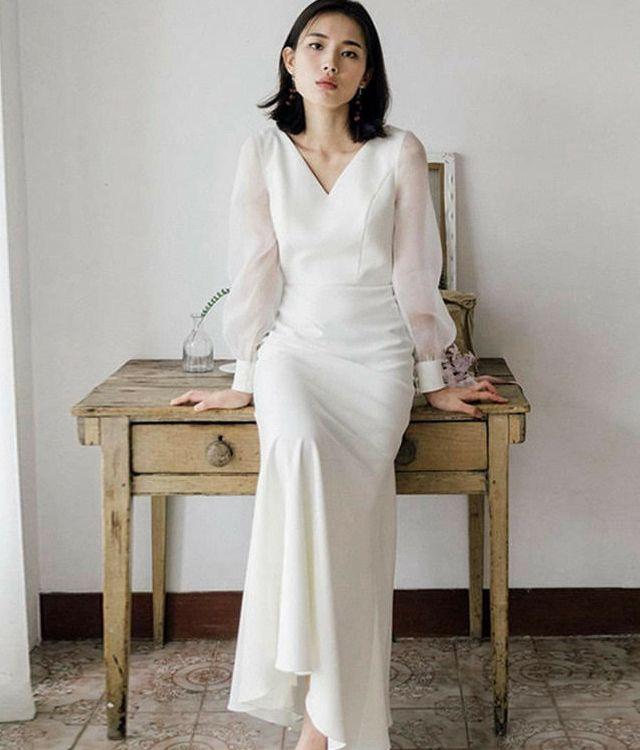 ウェディングドレス前撮りカジュアル結婚式二次会パーティー花嫁