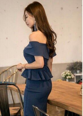 [e:i40]オフショルダーブルーペプラム膝丈ワンピースドレス[e:i40]
