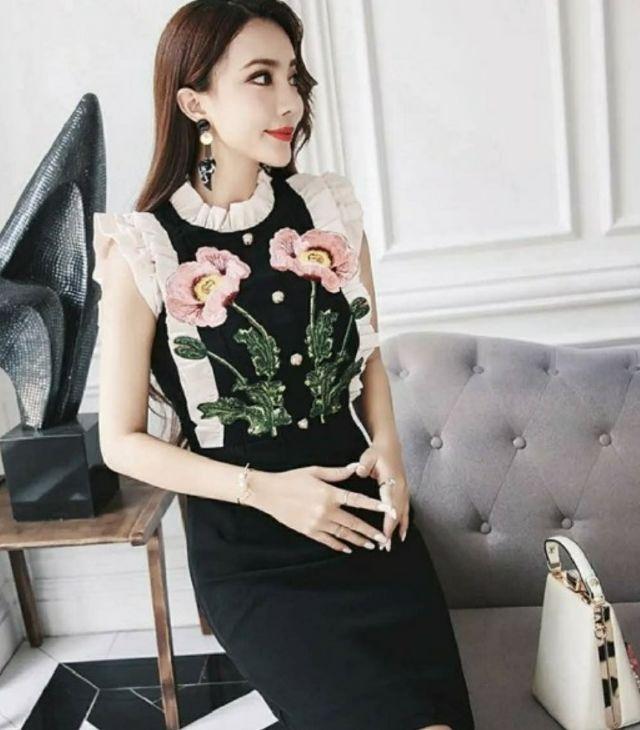 モデルさんも多数着用花柄刺繍ワンピース結婚式二次会 - フリマアプリ&サイトShoppies[ショッピーズ]