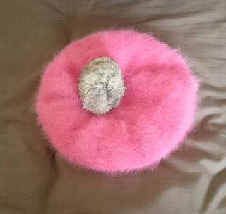 ふわふわ アンゴラ ベレー帽 ショッキング ピンク ポンポン