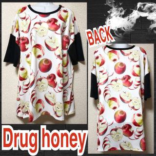 【新品/Drug honey】毒蜜林檎柄袖切替BIGTシャツ